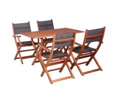 vidaXL Juego de muebles de jardín 5 pzas madera eucalipto y textileno