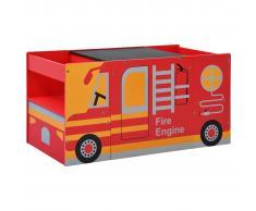 vidaXL Mesa y sillas infantiles 3 pzas madera forma de camión bomberos
