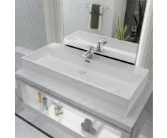vidaXL Lavabo con orificio para grifo cerámica 100x42,5x14,5 cm blanco