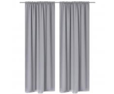 vidaXL 2 cortinas grises oscuras con jaretas, blackout 135 x 245 cm