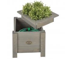Esschert Design Jardinera 2 en 1 con sitio para guardar manguera NG47