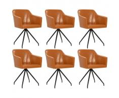 vidaXL Silla de comedor giratoria 6 unidades cuero sintético marrón
