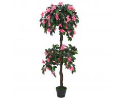 vidaXL Planta artificial azalea con maceta 155 cm verde y rosa