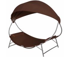 vidaXL Tumbona marrón con toldo