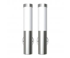 vidaXL 2 Apliques de exterior, lámparas de pared, acero inoxidable