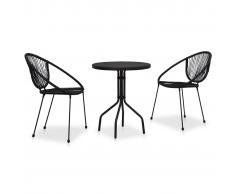 vidaXL Set de mesa y sillas de jardín 3 piezas ratán de PVC negro