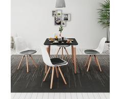 vidaXL Conjunto de mesa de comedor y sillas 5 piezas negro y blanco