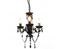 vidaXL Lámpara de araña con cuentas negro redonda 3 x E14