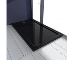 vidaXL Plato de ducha rectangular de ABS, color negro, 70 x 120 cm
