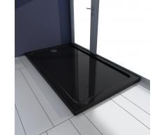 vidaXL Plato de ducha rectangular ABS, color negro, 70 x 120 cm