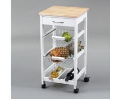 Not specified Carro de cocina con cestas + botellero madera