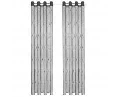 vidaXL Visillo bordado 2 piezas gris 140x225 cm