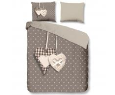 Good Morning Funda de edredón 5785-P Hearts 240x200/220 cm gris topo