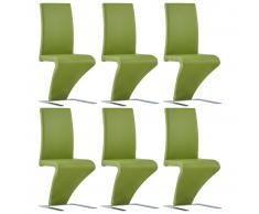 vidaXL Sillas de comedor forma de zigzag 6 uds cuero sintético verde