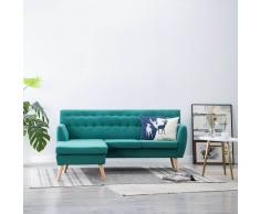 vidaXL Sofá en forma de L tapizado de tela verde 171,5x138x81,5 cm