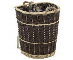 vidaXL Cesto de leña con correas transporte sauce natural 44,5x37x50cm