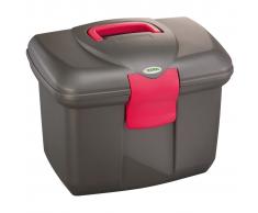 Kerbl Caja de limpieza caballos Roma color negro rosa 328269
