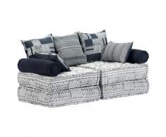 vidaXL Sofá cama modular de 2 plazas tela gris