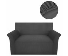 vidaXL funda elástica para sofá de tela acanalada color gris