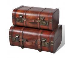 vidaXL Baúl cofre de madera vintage marrón 2 unidades