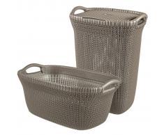 Curver Cesto de ropa sucia y de colada Knit marrón 97 L 08508-X59-00