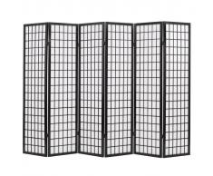 vidaXL Biombo plegable con 6 paneles estilo japonés 240x170 cm negro
