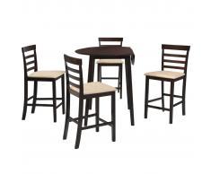 vidaXL Set mesa y sillas de bar 5 piezas madera maciza marrón oscuro