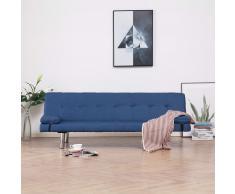vidaXL Sofá cama con dos almohadas de poliéster azul