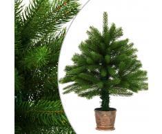 vidaXL Árbol artificial de Navidad con hojas realistas 65 cm verde