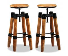 vidaXL Taburetes de bar 2 uds. madera maciza mango y acero
