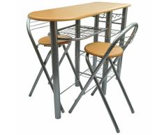 vidaXL Cocina/ Bar de desayuno / Set mesa y sillas Madera