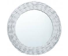 vidaXL Espejo de mimbre blanco 80 cm