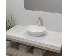 vidaXL Lavabo de baño con grifo mezclador cerámica ovalado blanco