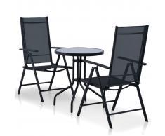 vidaXL Mesa y sillas bistró de jardín 3 pzs aluminio y textilene negro