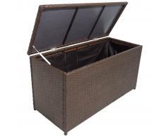 vidaXL Caja de almacenaje jardín ratán sintético marrón 120x50x60 cm