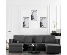 vidaXL Sofá cama extraíble de 4 plazas tela gris oscuro
