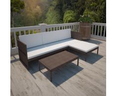 vidaXL Set sofá tres plazas de jardín ratán marrón