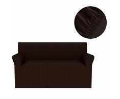 vidaXL Funda elástica para sofá marrón franja ancha