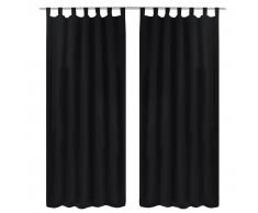 vidaXL 2 cortinas negras micro-satinadas con trabillas, 140 x 245 cm