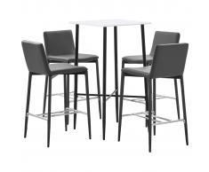 vidaXL Juego de mesa alta y taburetes 5 piezas cuero sintético gris