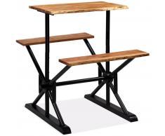 vidaXL Mesa de bar con bancos madera maciza de acacia 80x50x107 cm