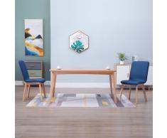 vidaXL Sillas de comedor 2 uds tela azul y madera maciza de roble