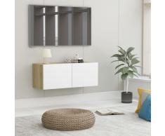 vidaXL Mueble para TV aglomerado blanco y roble Sonoma 80x30x30 cm