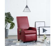 vidaXL Sillón masaje reclinable cuero sintético color vino tinto