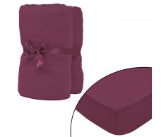 vidaXL Sábana ajustada 2 uds algodón 160 g/㎡ 90x190-100x200 cm borgoña