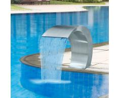 vidaXL Fuente cascada para piscina de acero inoxidable 45x30x60 cm