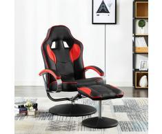 vidaXL Silla de oficina reclinable con reposapiés cuero sintético rojo