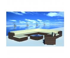 vidaXL Set muebles de jardín y cojines 12 pzas ratán sintético marrón