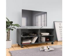 vidaXL Mueble para TV con ruedas aglomerado gris brillante 90x35x35 cm
