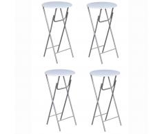 vidaXL Mesas altas plegables de MDF blancas 4 unidades